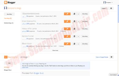Blogger vs WordPress Blogspot Dashboard