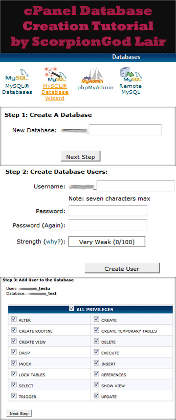 cPanel Database Creation Steps